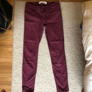A & F maroon jeans